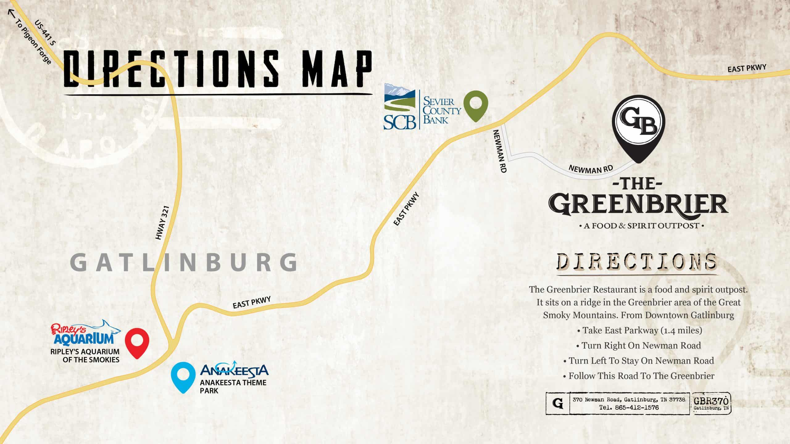 The Greenbrier Restaurant Directions Map